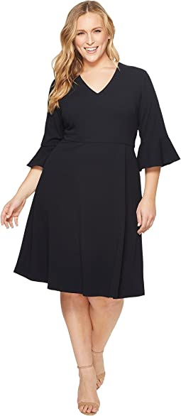 Plus Size Fit and Flare Crepe Dress with Bell Sleeve