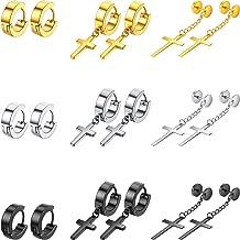 9 Pairs Stainless Steel Cross Earrings Vintage Hoop Huggie Earrings Cross Dangle Hinged Stud Earrings Set for Men and Women