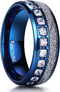 Meteor Men's 8mm Titanium Rose Gold/Silver/Blue Domed Imitated Meteorite Wedding Band Cubic Zirconia