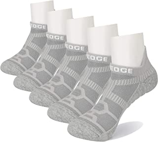 YUEDGE Unisex Moisture Wicking Cushion Cotton Ankle No Show Athletic Sports Running Low Cut Socks 5Pairs/Pack