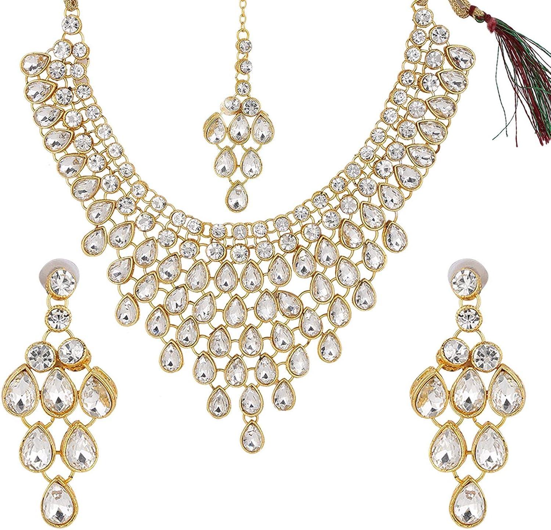 Efulgenz Indian Bollywood Kundan Choker Multilayer Neckalce Earrings Maangtikka Wedding Bridal Jewelry Set