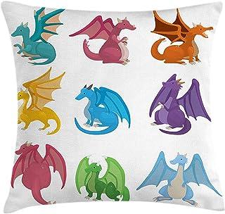 4Pcs 18X18 Inch Funda De Cojín De Almohada De Tiro De Dragón,Pequeños Dragones Alados De Bebé En Dibujos Animados De Vivero Para Niños De Reptiles,Decoración Cuadrada Para El Hogart Funda De Almohada