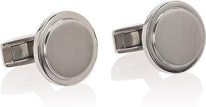 De Lorenzo of New York Titanium (Ti) Luxury Brushed Polished Round Cufflinks