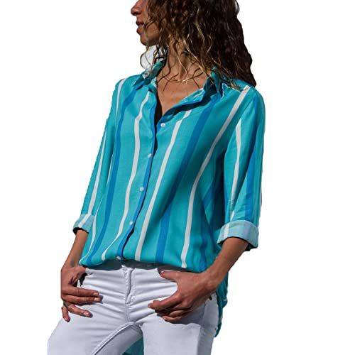 69af2066b8f72 Womens Blouses V Neck Color Block Stripes Button Up Blouse Casual Work Shirt  Tops with Long