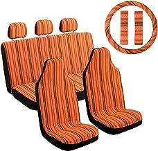 "Copap Orange Stripe Car Seat Cover Multi-Color Baja Saddle Blanket Universal 10pc Seat Covers Full Set with 15"" Steering Wheel Cover & Seat Belt Protectors for Sedan"