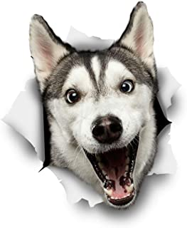Winston & Bear 3D Dog Stickers - 2 Pack - Happy Husky for Wall, Fridge, Toilet and More - Retail Packaged Husky Wall Decals