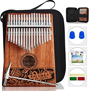 Kalimba Thumb Piano 17 Keys, Portable Mbira Finger Piano w/Protective Case, Fast to Learn Songbook, Tuning Hammer, All in ...