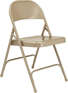 National Public Seating 50 Series All Steel Standard Folding Chair with Double Brace, 480 lbs Capacity, Beige (Carton of 4)