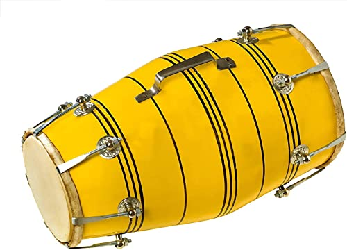 NSR Traders Handmade Wood DHOLAKI Indian Musical Instrument Yellow