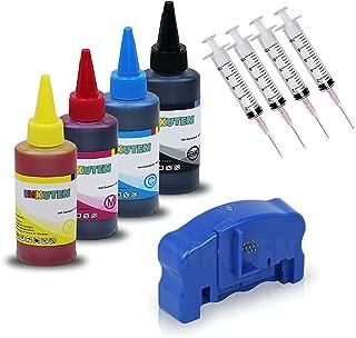 INKOA (TM) Ink Refill Kit for 252 T252 XL CISS REFILLABLES Ink cartridges 4 Bottles of 100ml Dye Ink Refill Kit and Chip Resetter