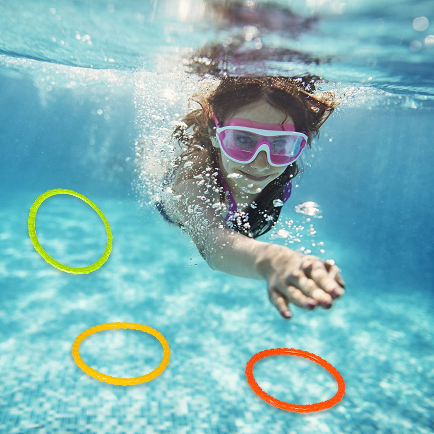 YHmall 6 Pack Pool Diving Toys Water Swimming Pool Diving Rings Toys for Kids Colorful Easy to Find and Grab Blue
