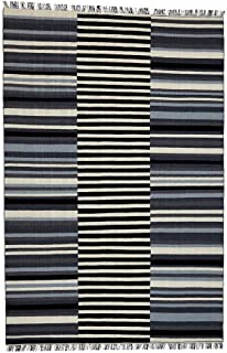 Ethan Allen | Disney Tricolor Striped Rug, 6' x 9', Pencil Point Grey