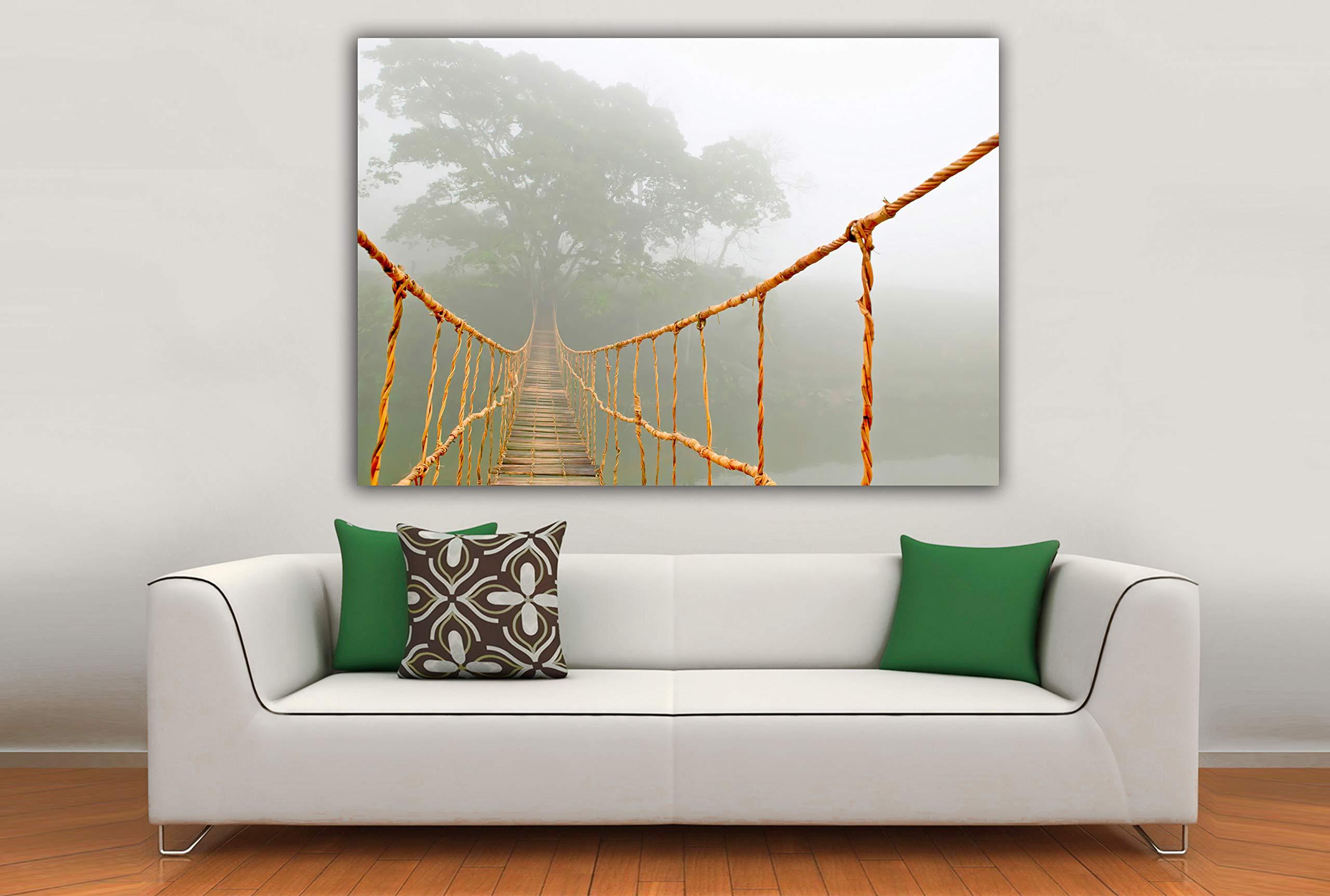 Cuadro Lienzo Viaje por la Jungla – Puente Colgante - Lienzo de Tela Bastidor de Madera de 3 cm - Fabricado en España - Impresión en Alta resolución – 105x150: Amazon.es: Hogar