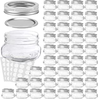 KAMOTA Mason Jars 4 oz With Regular Lids and Bands, Ideal for Jam, Honey, Wedding Favors, Shower Favors, Baby Foods, DIY Magnetic Spice Jars, 42 PACK, 50 Whiteboard Labels Included