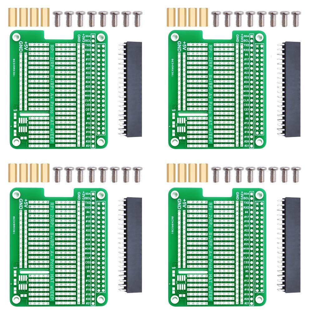 GeeekPi Kit de 4 prototipos de placa de circuito impreso para Raspberry Pi 4B y Raspberry Pi 3 2 B+ A+ (verde)