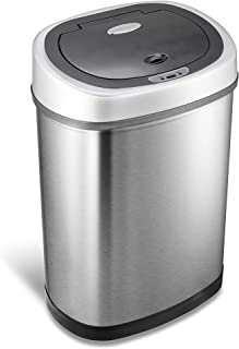 NINESTARS DZT-42-9 Automatic Touchless Infrared Motion Sensor Trash Can, 11 Gal 42L, Stainless Steel Base (Oval, Silver/Black Lid)