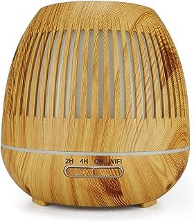 KINUO Difusor inteligente de aceite esencial, humidificador WiFi, control Alexa de grano de madera, humidificador ultrasón...