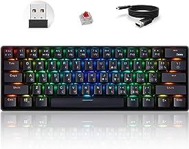 Cgration Russo Inglese Tastiera Meccanica 61 Tasti USB Wired 2.4G Wireless Dual Mode Gaming Tastiere Retroilluminazione pe...