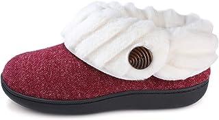 Wishcotton Women's Cute Comfy Fuzzy Felt Memory Foam Slippers Indoor Outdoor Nonslip Rubber Sole House Shoes