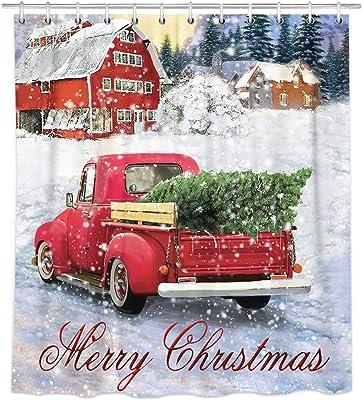 Christmas Tree Retro Red Truck Leprechauns Waterproof Fabric Shower Curtain Set