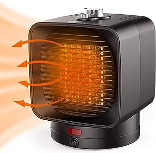 Ommani Calefactor, Cerámica Calefactor PTC 1500 W Calienta en 1 Segundos, con Doble Protección Frente al Calentamiento, Calefactor de Bajo Consumo, Oscilación Máxima de 70°, para Oficina y Hogar