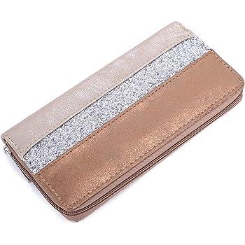 Femme 02040089 styleBREAKER Porte-Monnaie avec Rayures et Paillettes Scintillantes Fermeture /éclair Portefeuille Couleur:Or