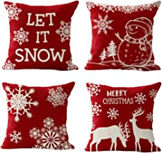 4 Pack, Happy Winter Red Snowflake Let It Snow Snowman Christmas Tree Animal Elk Merry Cotton Linen Square Throw Waist Pil...