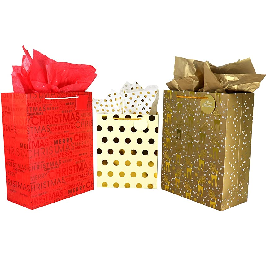 Christmas Gift Bags Bulk Set Includes 6 Extra Large 4 Large with Handles and Tags, Gold Metallic Foil & Holographic Gift Bags Assorted Sizes for Wrapping Holiday Gifts (Pack of 10)