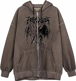 Dames Y2k Esthetische Full-Zip Hoodie Gezicht Portret Print Oversized Sweatshirt E-Girl 90s Baggy Lange Mouw Jas Jas