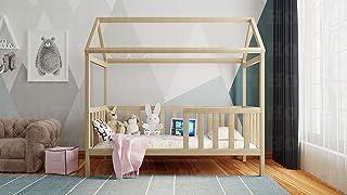 Holzti - Lit de Type Maison pour Enfants en Bois de pin Massif, Structure en Bois avec Main Courante et Niche pour commode...