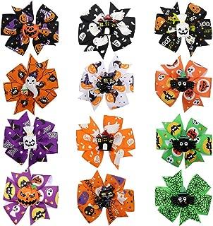 CN 12pcs Halloween Hair Bow Pumpkin Grosgrain Pinwheel Clips for Girls Kids Teens Chirldren