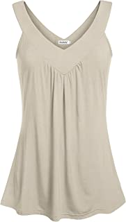Women Comfy Sleeveless Tunic Top Pleated V Neck Tanks Vest Summer
