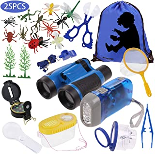 Anpro 25pcs Kids Outdoor Explorer Kit, Children Adventure Toys  Boys Including Kids Telescope, Compass, Flashlight, Suitab...