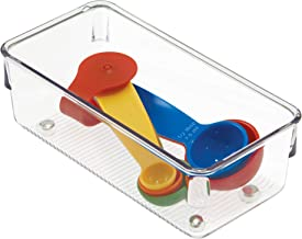 iDesign Linus Organiser Tray, Small Plastic Drawer Insert, Works Well as Accessories Organiser, Clear