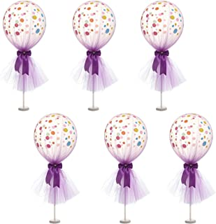Suppromo 12 inch Party Latex Polka Dot Balloons Tutu Tulle Balloons With Column Base Kit for Baby Shower Birthday Wedding Party Decoration(Purple Tulle Balloon,6 Pack)