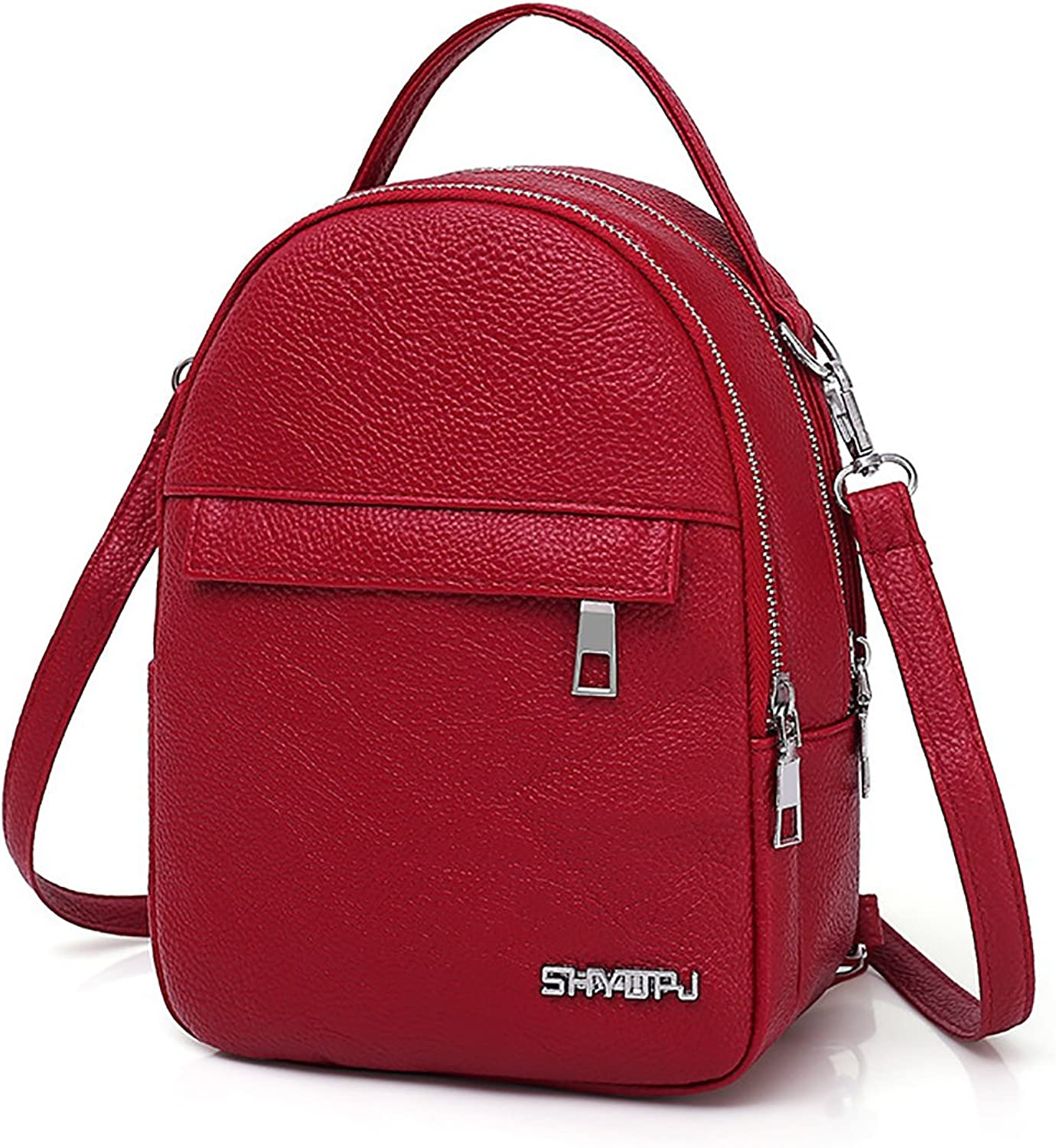 SDINAZ Lady's Mini Backpack in Pu leather with Headphone plug fashion small backpack for women girls black