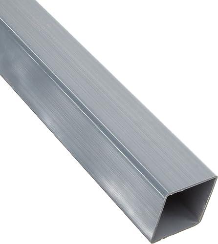 """PVC-Hollow Rectangular Bar, Gray, NSF 61, 3.54"""" X 3.54"""", 0.078"""" Wall, 48"""" Length"""