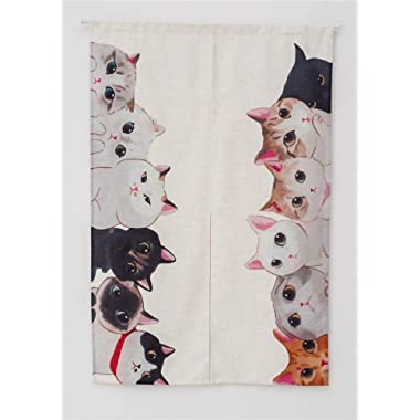 KARUILU home Japanese Noren Doorway Curtain Tapestry Cat Story (Cat Family)
