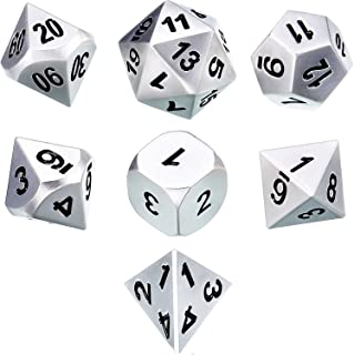 TecUnite Set of 7 Metal Dice Polyhedral 7-Die Dice Set Role Playing Game Dice Set for Dungeons and Dragons, RPG Dice Gamin...