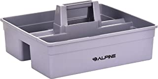 Alpine Industries 3-Compartment Plastic Cleaning Caddy – Commercial Quality Plastic Tool Organizer w/Handle for Cleaning Bathroom Floors & Windows (Large)