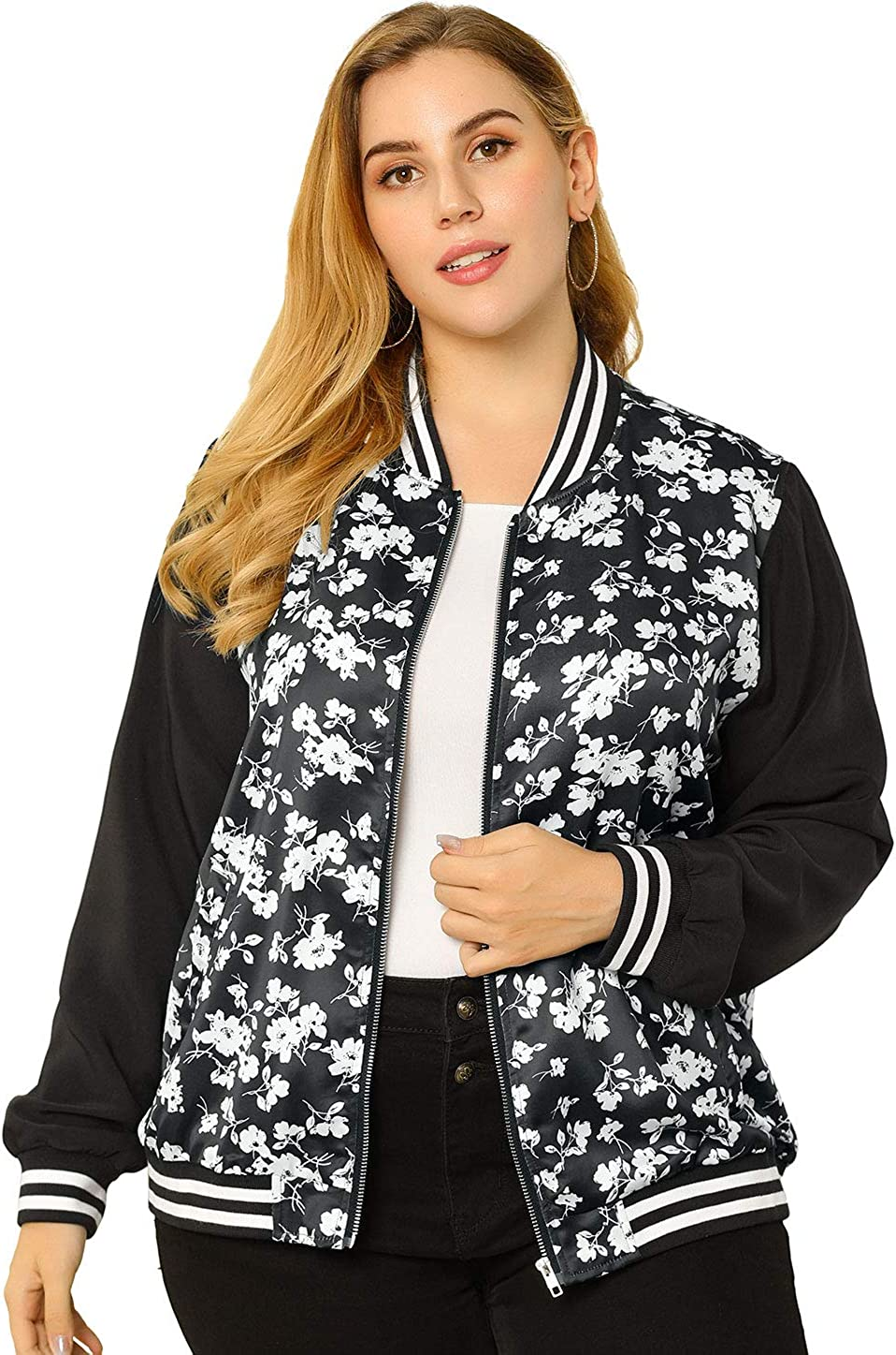 Agnes Orinda Women's Plus Size Jackets Contrast Color Lightweight Floral Bomber Jacket