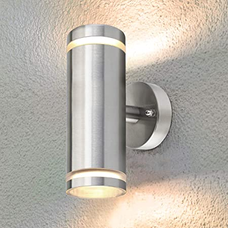Exterior Outdoor Up Down Wall Light IP65 Transparent Diffuser Stainless Steel ZLC308 Use with LED GU10 Bulb Only