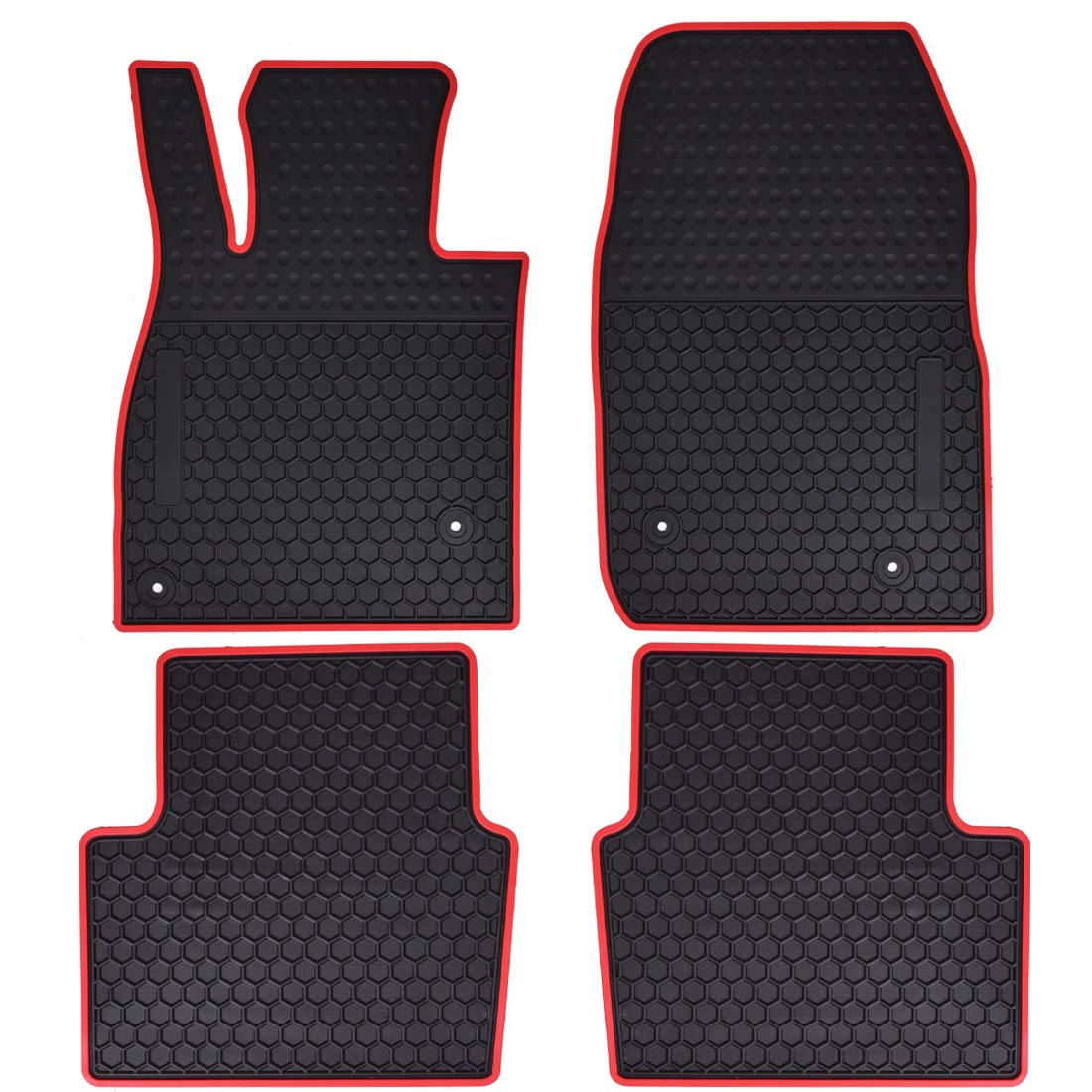 Floor Liners Front and Rear Row Set Red All Weather Megiteller Car Floor Mats Custom Fit for Mazda 3 2014 2015 2016 2017 2018 2019 2020 Odorless Washable Heavy Duty Rubber