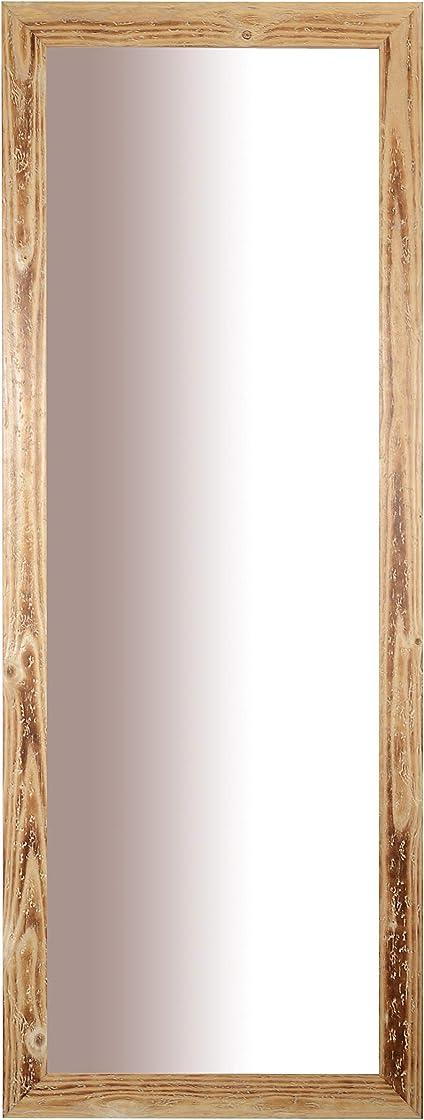 Specchio da parete con cornice rustica in legno abete fsc finitura naturale misura esterna cm. 56x147 mo.wa B07L137GDS