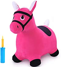 iPlay, iLearn Pink Hopping Horse, Outdoors Ride On Bouncy Animal Play Toys, Inflatable Hopper Plush Covered with Pump, Activities Gift for 3, 4, 5 Age Year Old Kids Toddlers Boys Girls