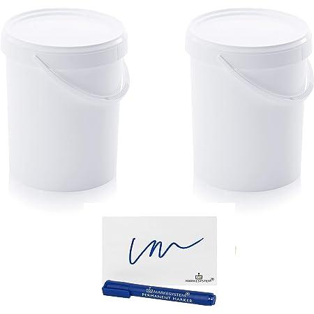 MARKESYSTEM - Seau Hermétique Catering - Pack de 2 x 15,9 litres - Cubes en plastique avec couvercle - Conteneurs empilables - Emballage, liquides et peintures - Polypropylène blanc + Kit étiqueté