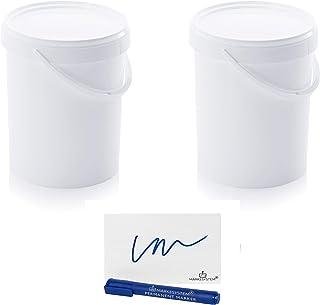 MARKESYSTEM - Seau Hermétique Catering - Pack de 2 x 15,9 litres - Cubes en plastique avec couvercle - Conteneurs empilabl...