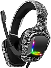 $32 » Gaming Headset for PS4, Xbox One Headphones with Noise Cancelling Mic with Mute & Volume Control, Lightweight Ergonomic Cool RGB Headphones