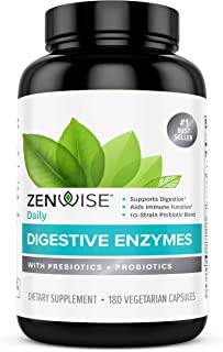 Zenwise Health Digestive Enzymes Plus Prebiotics & Probiotics Supplement, 180 Servings, Vegan Formula for B...