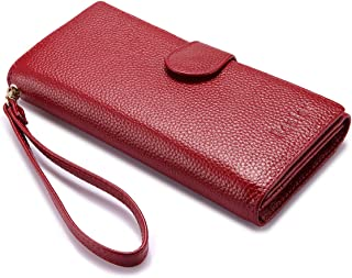 Wallets for Women Rfid Blocking Genuine Leather Long Ladies Wallet Purse with Wristlet Strap Large Bifold Credit Card Holders